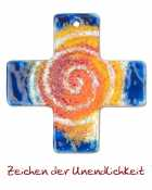 Wall cross made of blue glass with orange/red spiral