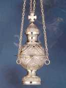 Censer, nickel-plated brass, 25 cm high