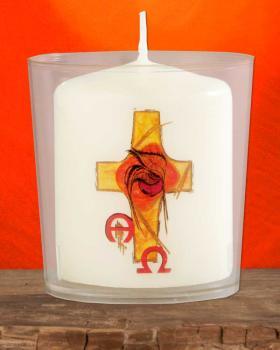 96 Lichterbecher mit Kerzen Weizenkorn 60 x 50 mm
