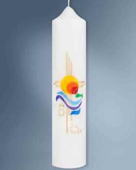 Taufkerze 265 x 60 mm Kreuzsymbol Sonne des Lebens