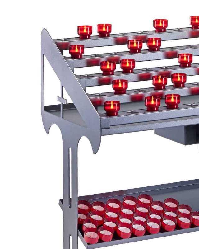 opferlichttisch mit 90 led kerzen rot kirchenbedarf. Black Bedroom Furniture Sets. Home Design Ideas